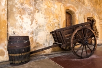 Traditional barrel and cart in the courtyard of Castillo San Cristóbal in Old San Juan (Puerto Rico)