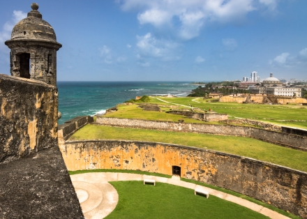 Sentry box looking across Castillo San Cristóbal, the largest fortification built by the Spanish in the New World, in Old San Juan (Puerto Rico)