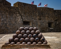 Monument of cannon balls in Castillo San Cristóbal in Old San Juan (Puerto Rico)