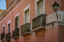 An old building with Juliet balconies in Old San Juan (Puerto RIco)