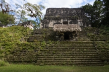 One of the temples in the grounds of Plaza de los Siete Templos ('Plaza of the Seven Temples'), part of what was once the Mayan capital, in Tikal Petén (Guatemala)