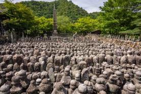 Adashino Nenbutsu-ji temple in Kyoto (Japan), home of approximately 8,000 Buddhist stone statuettes memorializing the dead, in Arashiyama, Kyoto (Japan)